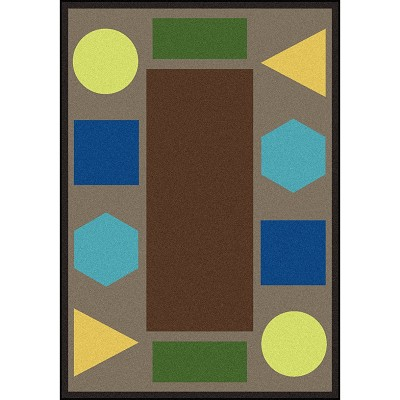 Kid Essentials - Early Childhood Sitting Shapes Earthtone Area Rug by Joy Carpets