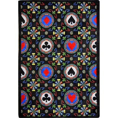 Games People Play Stacked Deck Black Area Rug by Joy Carpets