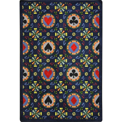 Games People Play Stacked Deck Navy Area Rug by Joy Carpets