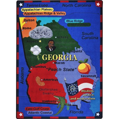 Map Of Georgia For Kids.Kid Essentials Geography Environment State The Facts Georgia Multi Area Rug By Joy Carpets