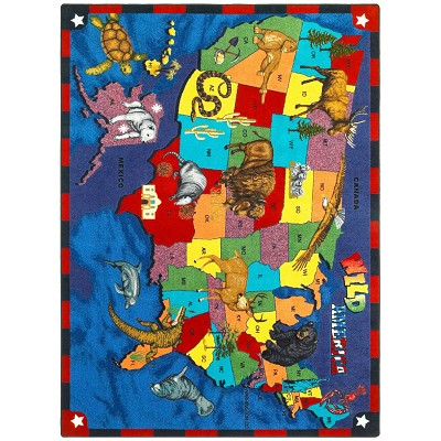 Kid Essentials - Geography & Environment Wild America Multi Area Rug by Joy Carpets