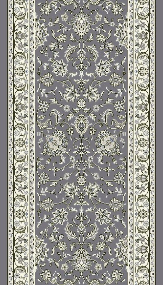 "DaVinci Kashan 56 Charcoal 2'2"" Wide Hall and Stair Runner"