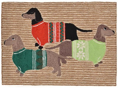 Liora Manne Frontporch 1566/12 Holiday Hounds Neutral Area Rug