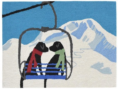 Liora Manne Frontporch 1842/11 Ski Lift Love Winter Area Rug
