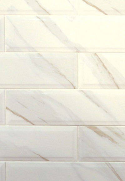 Classique White Calacatta Beveled X Ceramic Wall Tile - 16 x 16 white ceramic floor tile