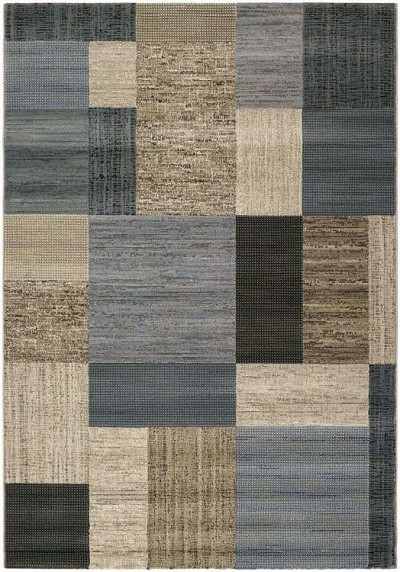 Everest 6303/6454 Geometrics Tan-Teal Area Rug by Couristan