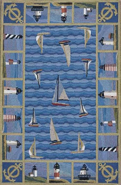 Colonial 1335 Blue Lighthouses Area Rug by KAS