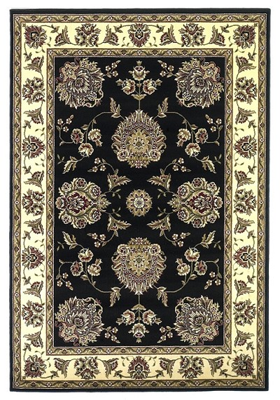 Cambridge Classic 7339 Black/Ivory Floral Mahal Area Rug by KAS